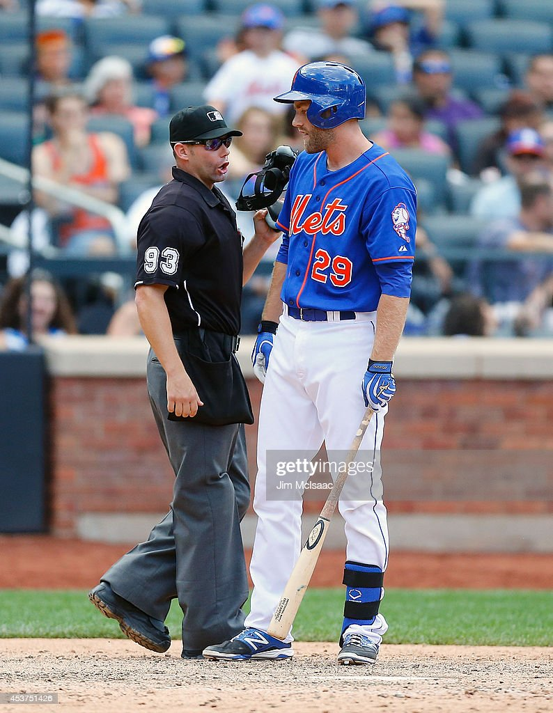 <a gi-track='captionPersonalityLinkClicked' href=/galleries/search?phrase=Eric+Campbell&family=editorial&specificpeople=90797 ng-click='$event.stopPropagation()'>Eric Campbell</a> #29 of the New York Mets argues with home plate umpire Will Little after he was called out on strikes to end a game against the Chicago Cubs at Citi Field on August 17, 2014 in the Flushing neighborhood of the Queens borough of New York City.