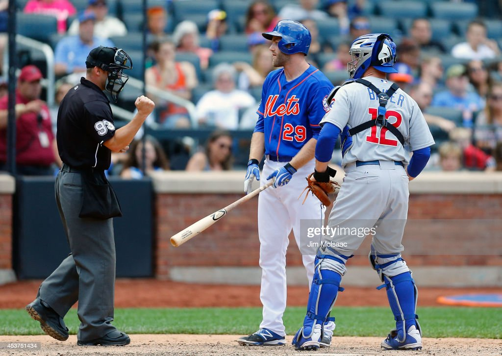 <a gi-track='captionPersonalityLinkClicked' href=/galleries/search?phrase=Eric+Campbell&family=editorial&specificpeople=90797 ng-click='$event.stopPropagation()'>Eric Campbell</a> #29 of the New York Mets argues with home plate umpire Will Little after he was called out on strikes to end the game as John Baker #12 of the Chicago Cubs looks on at Citi Field on August 17, 2014 in the Flushing neighborhood of the Queens borough of New York City.