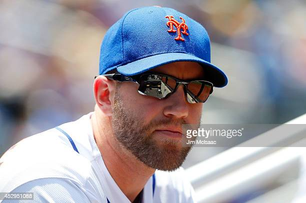 Eric Campbell of the New York Mets looks on against the Philadelphia Phillies at Citi Field on July 30 2014 in the Flushing neighborhood of the...