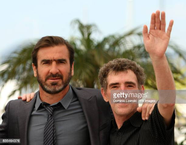 Eric Cantona and Steve Evets at a photocall for the film 'Looking for Eric' at the Palais des Festivals in Cannes France during the 62nd Cannes Film...