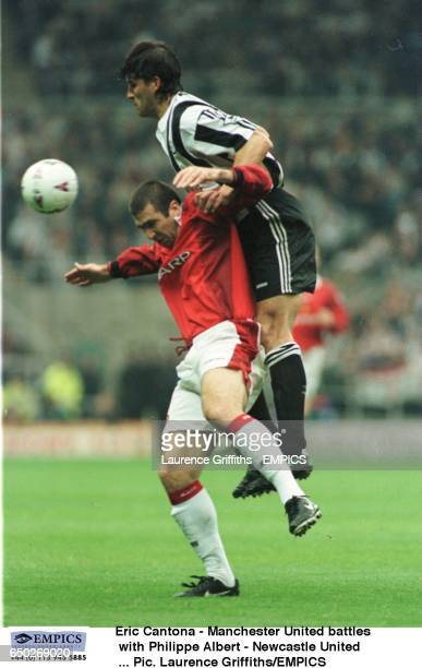 Eric Cantona Manchester United battles with Philippe Albert Newcastle United