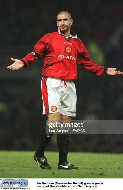 Eric Cantona Manchester United gives a gaulic shrug of the shoulders