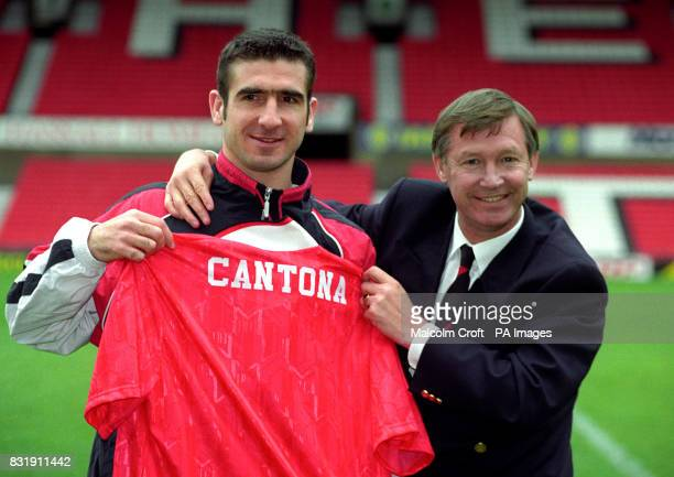 Eric Cantona Manchester United's new signing with manager Alex Ferguson