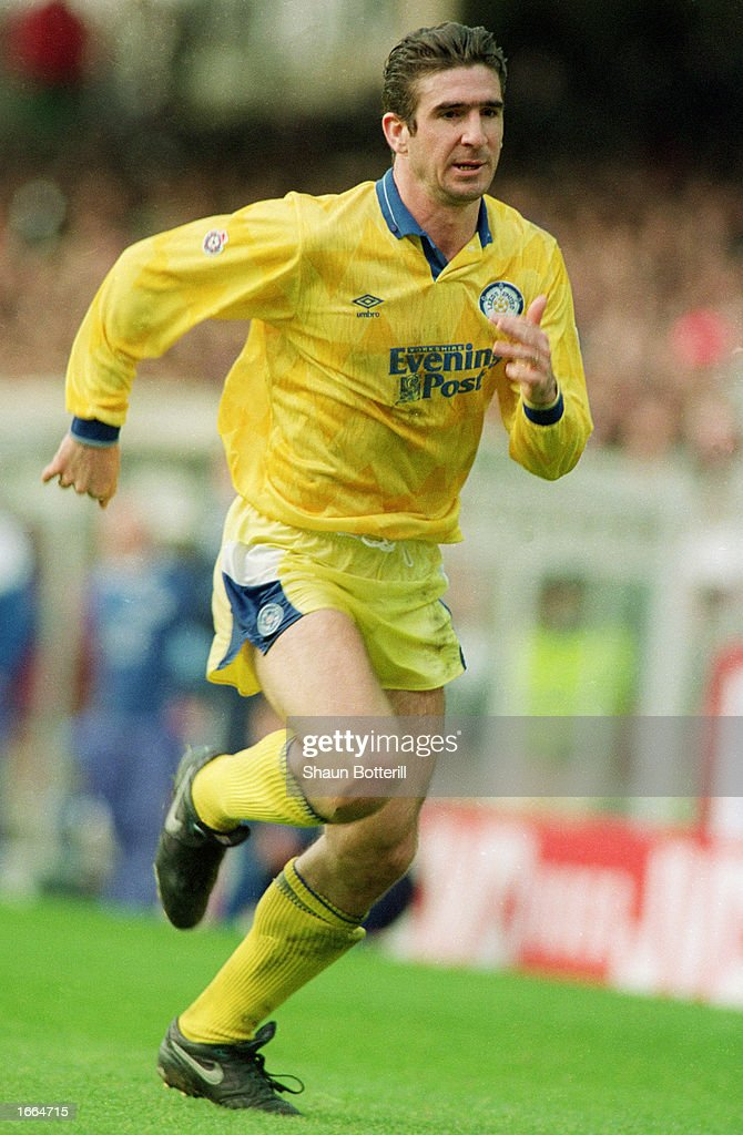 Eric Cantona of Leeds United in action during the Barclays League Division One match between Arsenal and Leeds United held on March 22 1992 at...