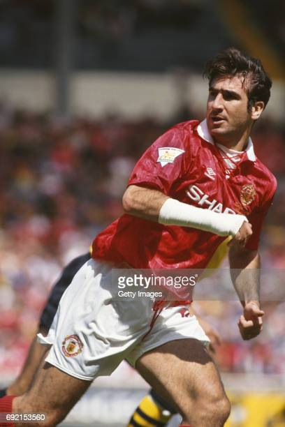 Eric Cantona of Manchester United in action during the 1993 FA Charity Shield against Arsenal on August 7 1993 in London England