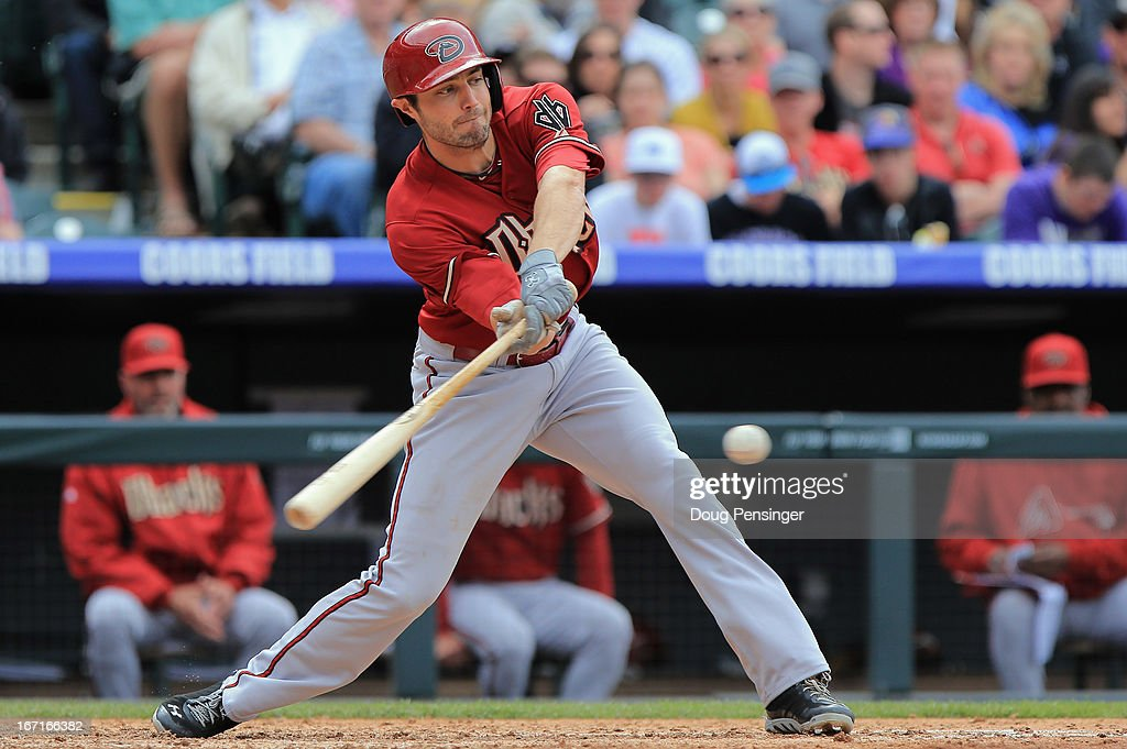 <a gi-track='captionPersonalityLinkClicked' href=/galleries/search?phrase=Eric+Chavez&family=editorial&specificpeople=201561 ng-click='$event.stopPropagation()'>Eric Chavez</a> #12 of the Arizona Diamondbacks takes an at bat against the Colorado Rockies at Coors Field on April 21, 2013 in Denver, Colorado. The Diamondbacks defeated the Rockies 5-4.
