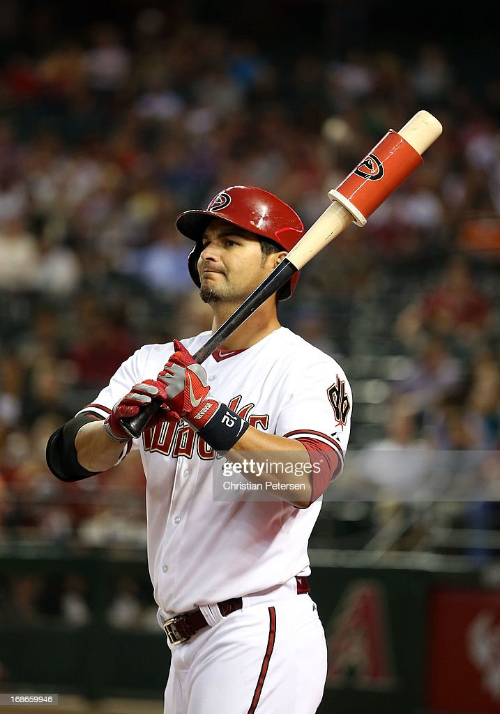 <a gi-track='captionPersonalityLinkClicked' href=/galleries/search?phrase=Eric+Chavez&family=editorial&specificpeople=201561 ng-click='$event.stopPropagation()'>Eric Chavez</a> #12 of the Arizona Diamondbacks warms up on deck during the MLB game against the Pittsburgh Pirates at Chase Field on April 9, 2013 in Phoenix, Arizona.
