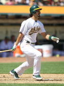 Eric Chavez of the Oakland Athletics bats against the Seattle Mariners during an MLB game at the OaklandAlameda County Coliseum on April 8 2010 in...