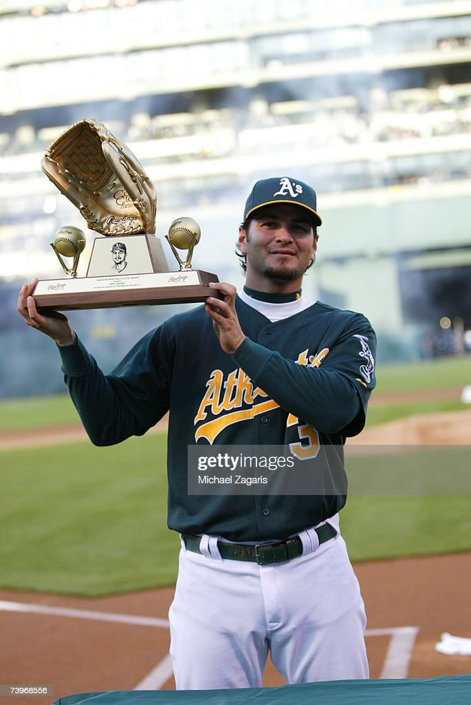 Eric Chavez of the Oakland Athletics is honored with his sixth consecutive Gold Glove before the game against the Chicago White Sox on MLB Opening Night at the McAfee Coliseum in Oakland, California on April 9, 2007. The White Sox defeated the Athletics 4-1.