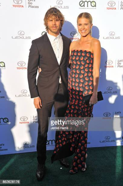 Eric Christian Olsen and Sarah Wright at the Environmental Media Association's 27th Annual EMA Awards at Barkar Hangar on September 23 2017 in Santa...