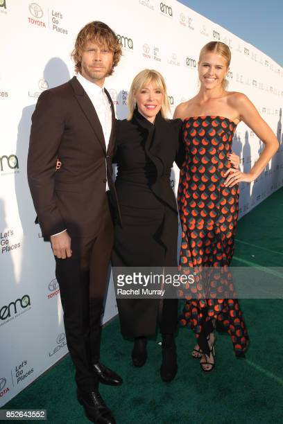 Eric Christian Olsen EMA president Debbie Levin and Sarah Wright at the Environmental Media Association's 27th Annual EMA Awards at Barkar Hangar on...