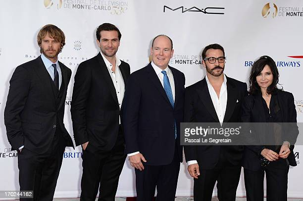 Eric Christian Olsen Gregory Fitoussi Prince Albert II of Monaco Jeremy Piven and Evelyne Bouix attend the opening ceremony of the 53rd Monte Carlo...