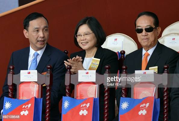 Eric Chu chairman of Taiwan's ruling Kuomintang Tsai Ingwen chairwoman of Taiwan's main opposition Democratic Progressive Party and James Soong...
