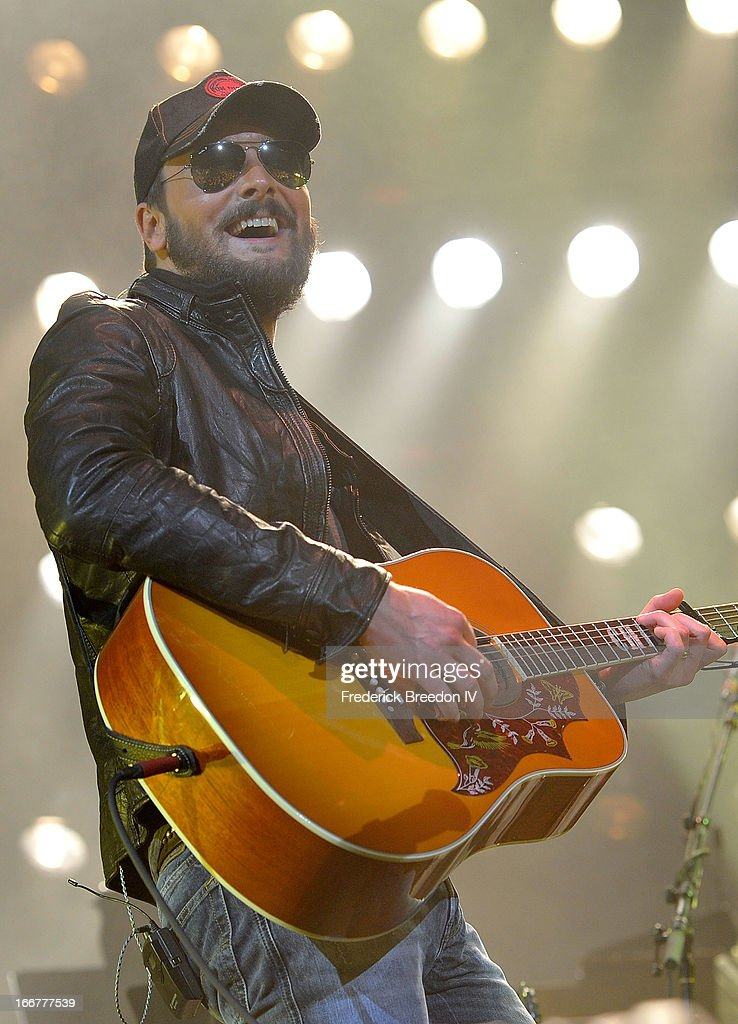 <a gi-track='captionPersonalityLinkClicked' href=/galleries/search?phrase=Eric+Church&family=editorial&specificpeople=619568 ng-click='$event.stopPropagation()'>Eric Church</a> performs during Keith Urban's Fourth annual We're All For The Hall benefit concert at Bridgestone Arena on April 16, 2013 in Nashville, Tennessee.