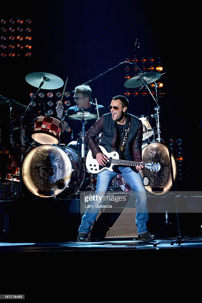 Eric Church performs onstage during the 47th annual CMA awards at the Bridgestone Arena on November 6, 2013 in Nashville, United States.