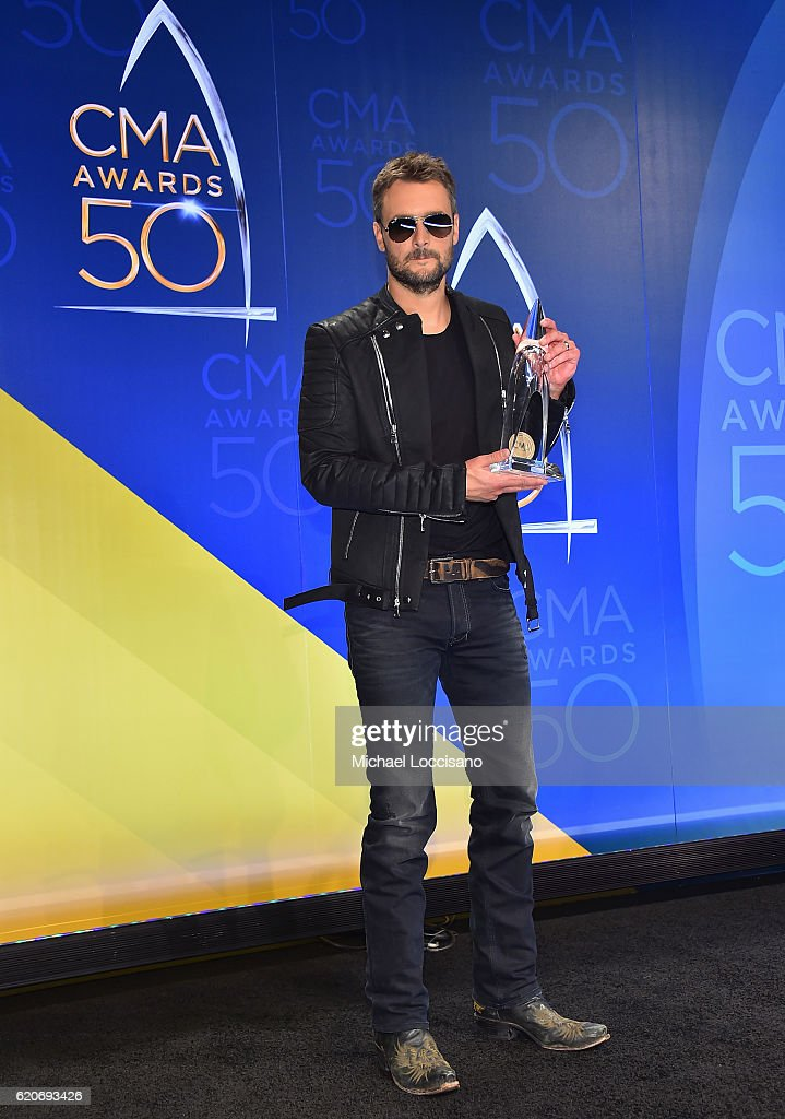 Eric Church poses with award for the Album of the Year at the 50th annual CMA Awards at the Bridgestone Arena on November 2, 2016 in Nashville, Tennessee.
