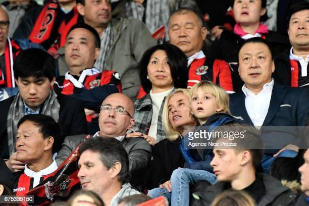 Eric Ciotti french politician and Chien Lee coowner of Nice during the French Ligue 1 match between Nice and Paris Saint Germain at Allianz Riviera...