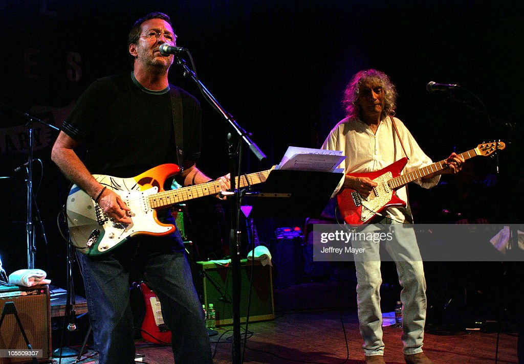 Eric Clapton and Albert Lee during The Crickets and Friends in Concert at the House of Blues at House of Blues in West Hollywood, California, United States.
