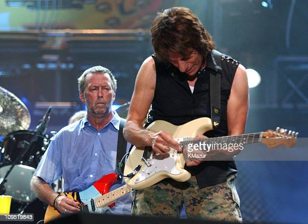 Eric Clapton and Jeff Beck during Crossroads Guitar Festival Day Three at Cotton Bowl Stadium in Dallas Texas United States