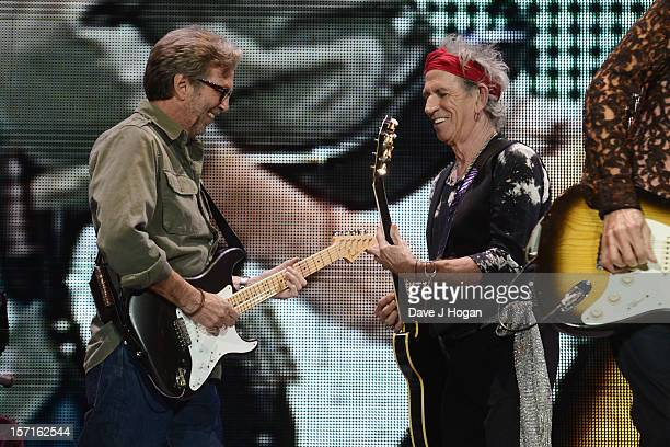 Eric Clapton and Keith Richards of The Rolling Stones perfom at The O2 Arena on November 29 2012 in London England