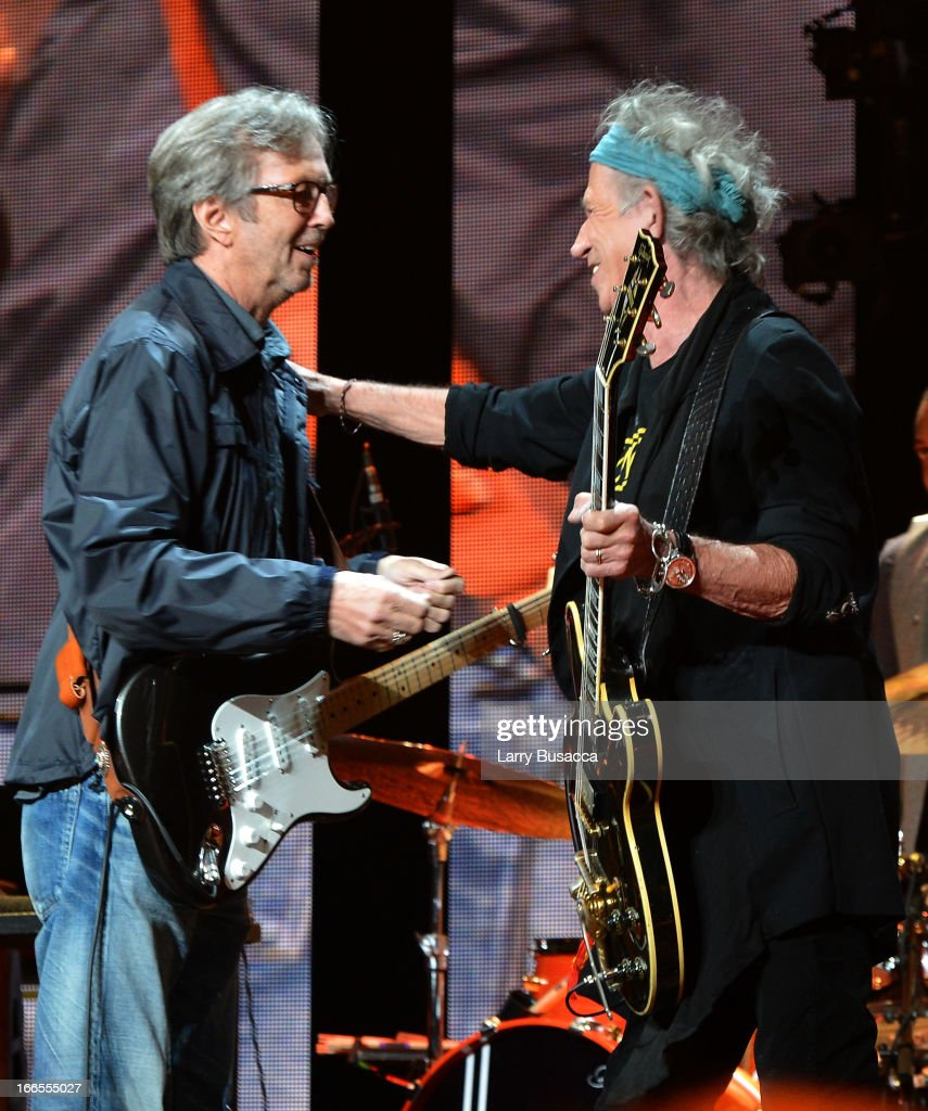 <a gi-track='captionPersonalityLinkClicked' href=/galleries/search?phrase=Eric+Clapton&family=editorial&specificpeople=158744 ng-click='$event.stopPropagation()'>Eric Clapton</a> and <a gi-track='captionPersonalityLinkClicked' href=/galleries/search?phrase=Keith+Richards+-+Musician&family=editorial&specificpeople=202882 ng-click='$event.stopPropagation()'>Keith Richards</a> perform on stage during the 2013 Crossroads Guitar Festival at Madison Square Garden on April 13, 2013 in New York City.