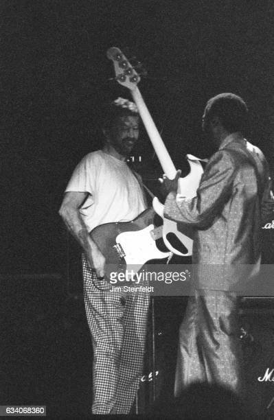 Eric Clapton and Nathan East perform at the St Paul Civic Center in St Paul Minnesota on April 18 1987