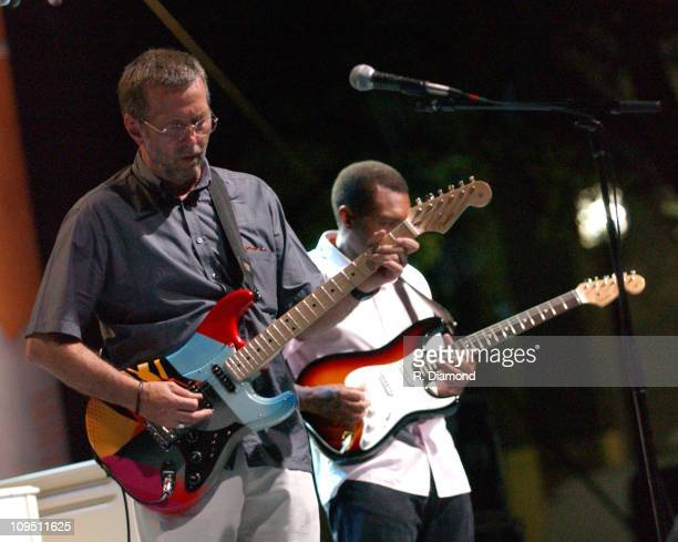 Eric Clapton and Robert Cray during Crossroads Guitar Festival Day Two All Star Blues Jam Hosted by Eric Clapton at Fair Park in Dallas Texas United...