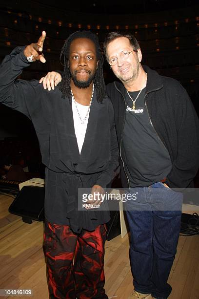 Eric Clapton and Wyclef Jean backstage during An Evening with Wyclef at Carnegie Hall at Carnegie Hall in New York City New York United States
