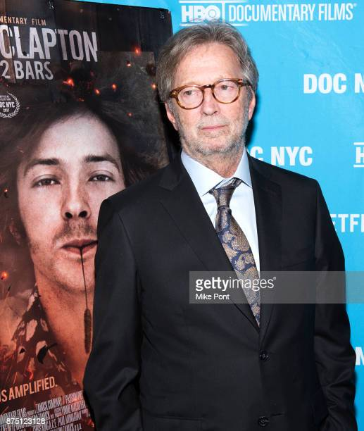 Eric Clapton attends the 2017 DOC NYC closing night screening of 'Eric Clapton Life In 12 Bars' at SVA Theatre on November 16 2017 in New York City