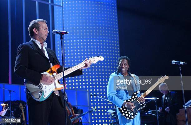 Eric Clapton Buddy Guy during The Concert for New York City Show at Madison Square Garden in New York City New York United States