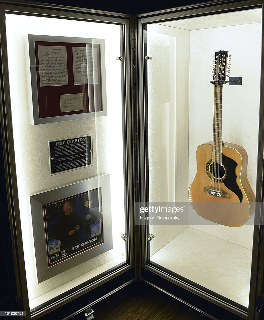 Eric Clapton memorabilia at the 'Gone Too Soon' and 'Music Gives Back' Media Preview Day at the Hard Rock Cafe, Times Square on February 13, 2013 in New York City.