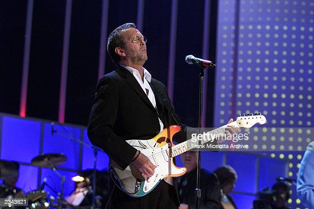 Eric Clapton performing at The Concert for New York City at Madison Square Garden in New York City 10/20/01 The show will benefit victims of the...