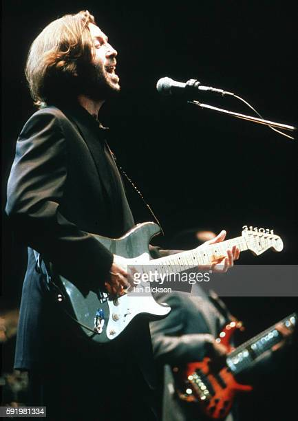 Eric Clapton performing on stage at Royal Albert Hall London 18 January 1990