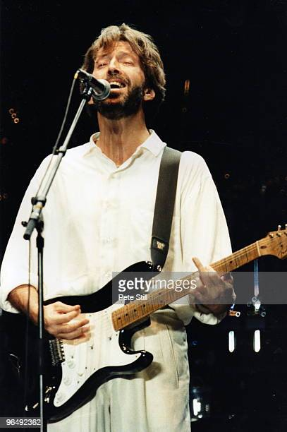 Eric Clapton performs on stage at Wembley Stadium on June 27th 1992 in London United Kingdom