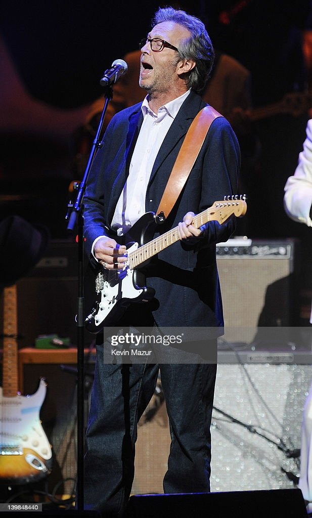 <a gi-track='captionPersonalityLinkClicked' href=/galleries/search?phrase=Eric+Clapton&family=editorial&specificpeople=158744 ng-click='$event.stopPropagation()'>Eric Clapton</a> performs on stage during Howlin For Hubert: A Concert to Benefit the Jazz Foundation of America at The Apollo Theater on February 24, 2012 in New York City.