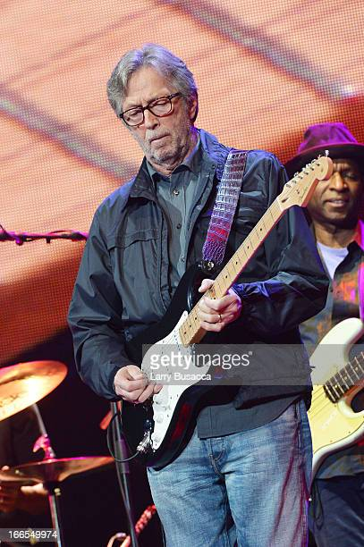 Eric Clapton performs on stage during the 2013 Crossroads Guitar Festival at Madison Square Garden on April 13 2013 in New York City