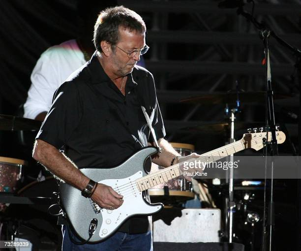 Eric Clapton performs on stage in concert at Members Equity Stadium on February 11 2007 in Perth Australia The 2007 tour is 16 Grammy awardwinning...