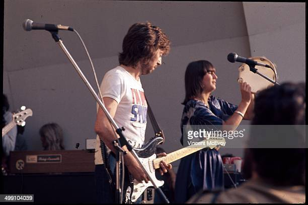 Eric Clapton performs on stage with backing singer Marcy Levy at Crystal Palace Bowl London 31st July 1976