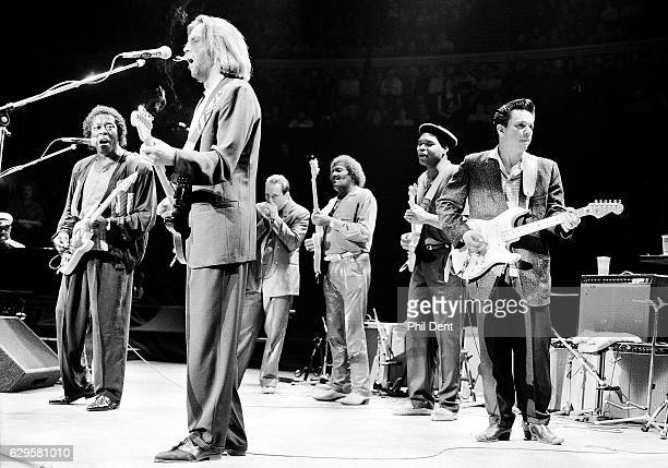 Eric Clapton performs on stage with blues musicians at the Royal Albert Hall London 1991 LR Buddy Guy Eric Clapton Jerry Portnoy Albert Collins...