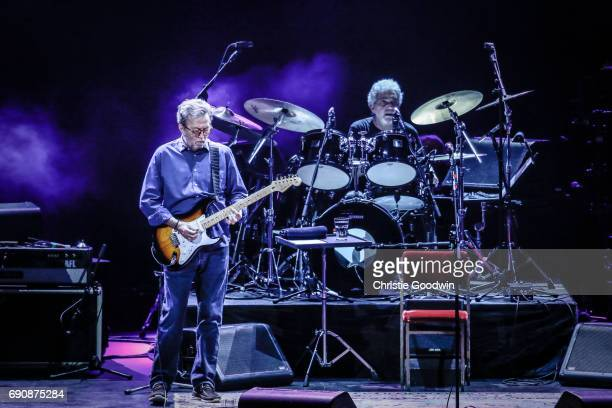 Eric Clapton performs on stage with drummer Steve Gadd at the Royal Albert Hall on 21 May 2015 in London United Kingdom
