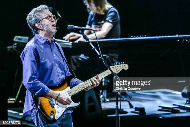 Eric Clapton performs on stage with keyboard player Chris Stainton at the Royal Albert Hall on 21 May 2015 in London United Kingdom
