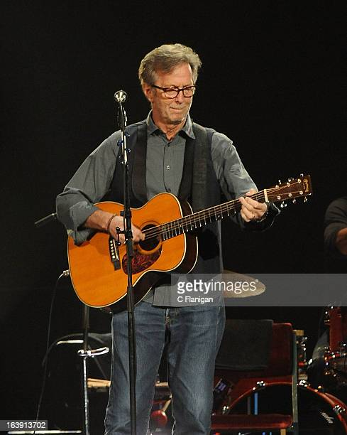 Eric Clapton performs on the last night of the SXSW music festival at The Frank Erwin Center on March 17 2013 in Austin Texas