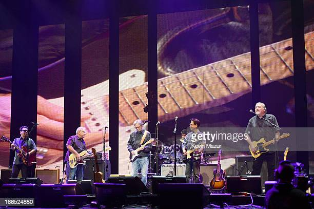 Eric Clapton performs with Los Lobos on stage during the 2013 Crossroads Guitar Festival at Madison Square Garden on April 13 2013 in New York City
