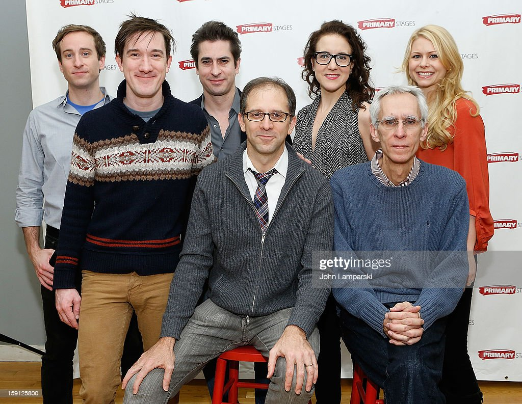 Eric Clem, Carson Elrod, Matthew Saldivar, Director John Rando, Jenn Harris, Playwright David Ives and Liv Rooth attends the 'All In The Timing' Press Preview at Primary Stages Rehearsal Studio on January 8, 2013 in New York City.