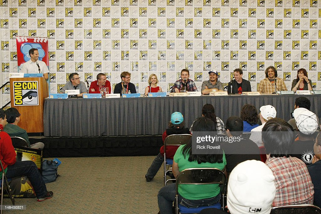 ANIMATION - Eric Coleman (Senior Vice President, Original Series, Disney Television Animation), Noah Z. Jones (creator/executive producer, 'Fish Hooks'), Maxwell Atoms (executive producer, 'Fish Hooks'), Justin Roiland, Kari Wahlgren, Alex Hirsch (creator/executive producer, 'Gravity Falls'), Jason Ritter, Michael Rianda (creative director, 'Gravity Falls'), Craig McCracken (creator, 'Wander Over Yonder') and Lauren Faust (co-producer, 'Wander Over Yonder') participate in a panel and Q&A session with fans at Comic-Con International in San Diego, Calif. (July 14).