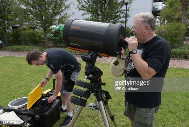 Eric Colley and his father Harvey Colley set up a telescope in Charleston South Carolina on the day of the total solar eclipse on August 21 2017 The...