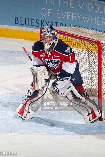 Eric Comrie of the TriCity Americans warms up against the Kelowna Rockets on March 8 2014 at Prospera Place in Kelowna British Columbia Canada