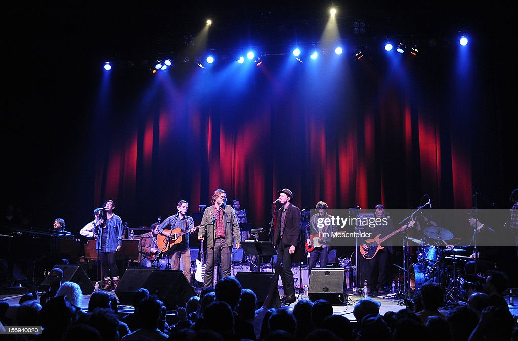 Eric D. Johnson (L) and Andy Cabic and the tribute band perform during the Last Waltz Tribute Concert at The Warfield on November 24, 2012 in San Francisco, California.