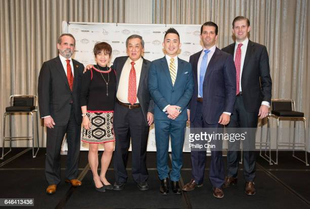 Eric Danziger Datuk Tony Tiah Datin Alicia Tiah Joo Kim Tiah Donald Trump Jr and Eric Trump attend the Trump International Hotel And Tower Vancouver...