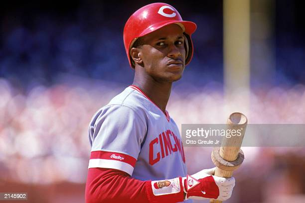 Eric Davis of the Cincinnati Reds holds his bat during a MLB game in the 1987 season